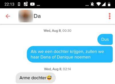 tinder chat grappig